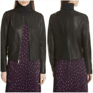 Vince Collarless Leather Jacket Size Sm